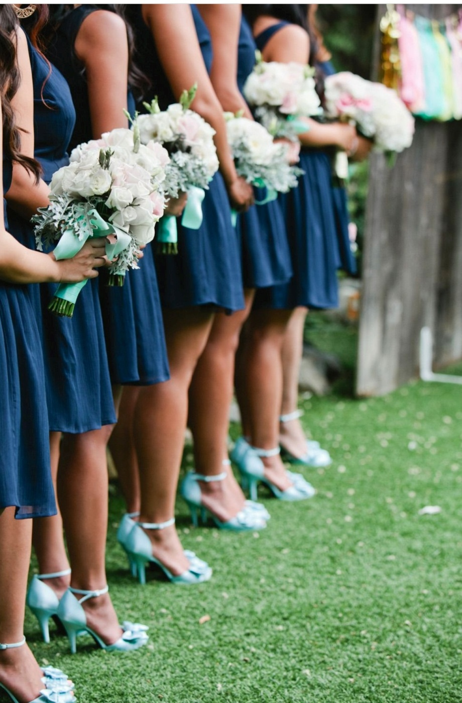 Mint with Navy Blue